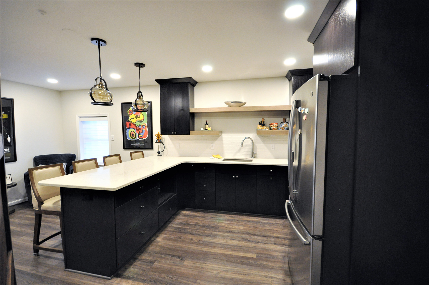 Full Kitchen Remodel with Black Cabinets in Montgomery County, MD