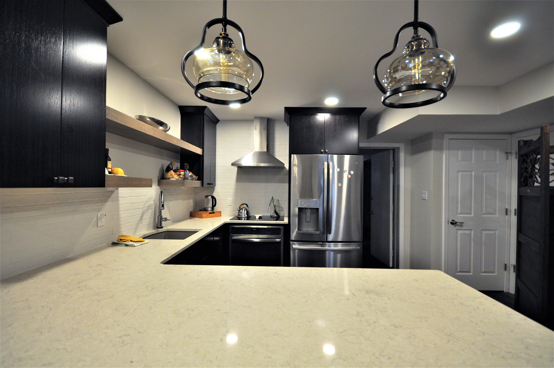 Full Kitchen Remodel with white counter tops in Montgomery County, MD