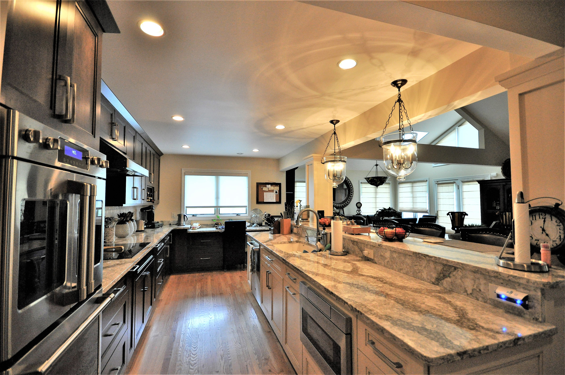 Full Kitchen Remodel with Black Cabinets and White Island in Montgomery County, MD