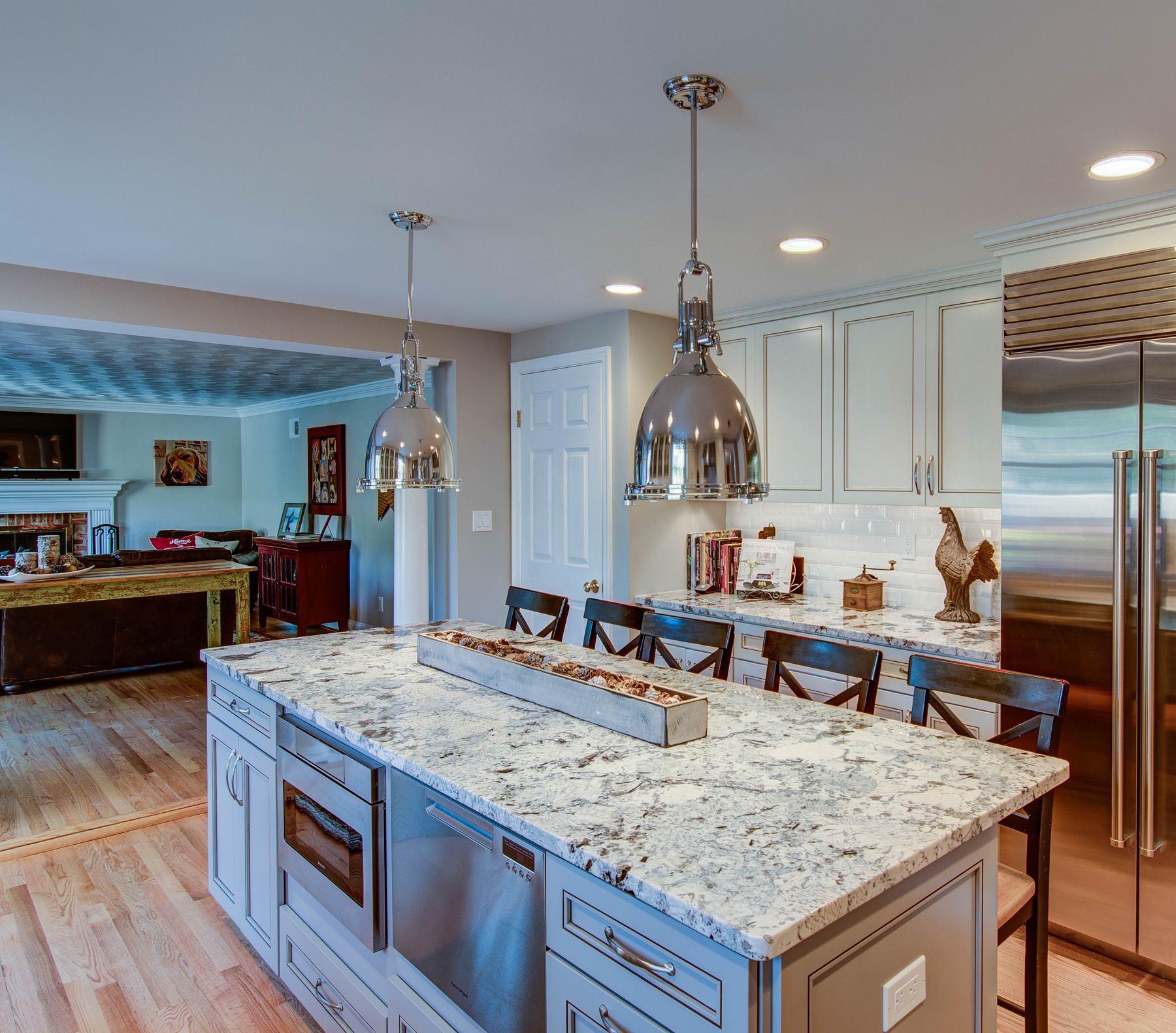 Full Kitchen Remodel with Grey Island in Montgomery County, MD